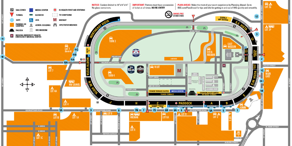 Indy 500 Track Map Indianapolis 500 Parking Information