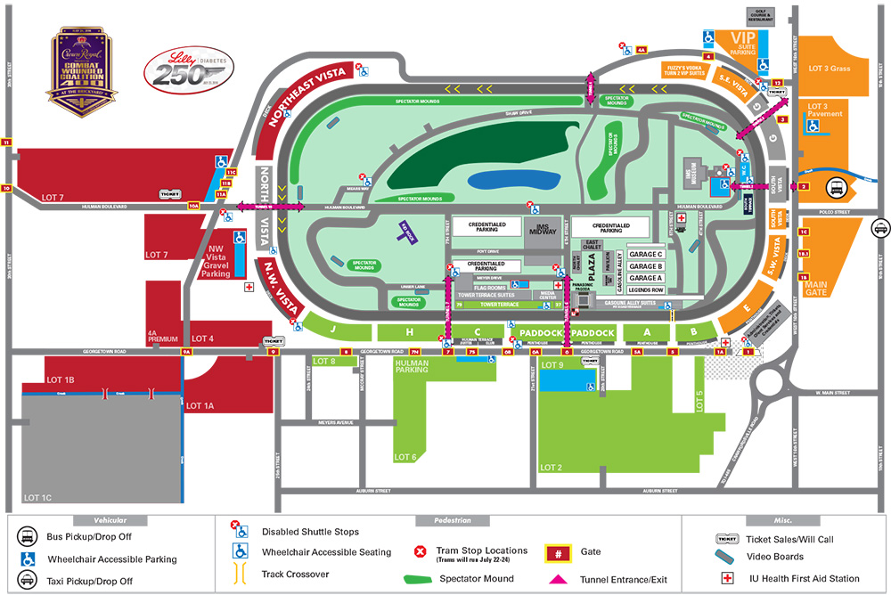 Crown Royal 400 at the Brickyard Parking Map