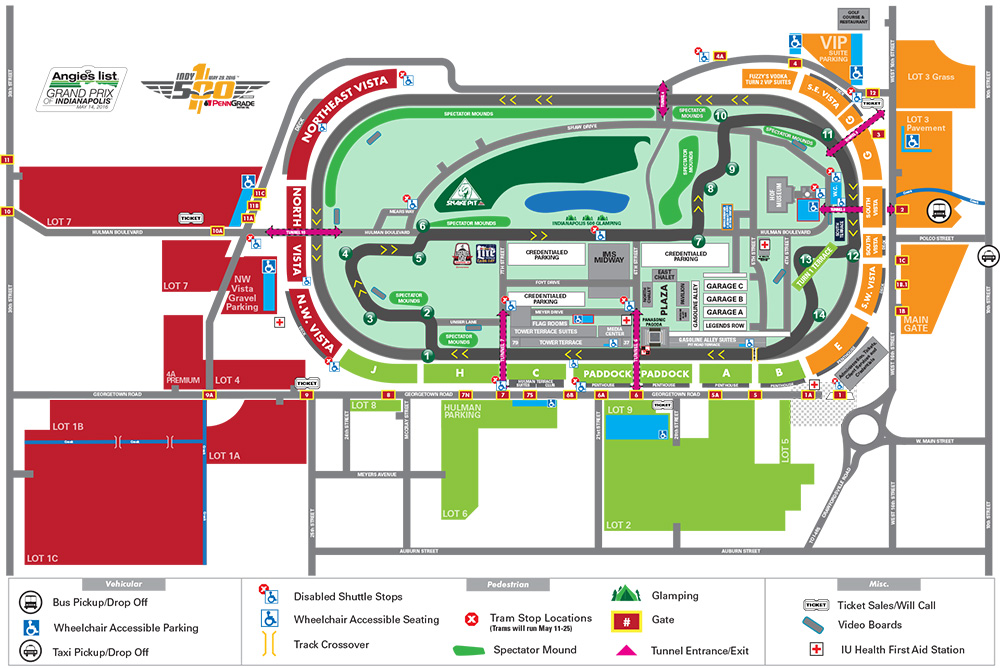 Angie's List Grand Prix of Indianapolis Parking Map