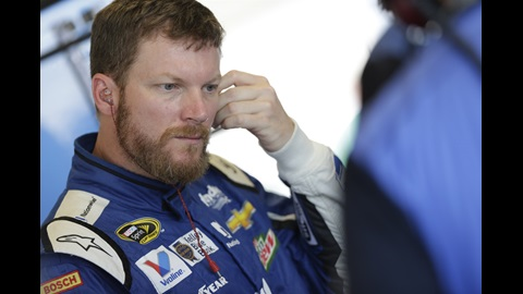 Dale Earnhardt Jr. in his garage at IMS