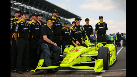 Simon Pagenaud takes his post-qualifying photo during qualifying for the 100th Running of the Indy 500 presented by PennGrade Motor Oil