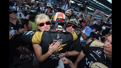 James Hinchcliffe after winning P1 on Pole Day for the 100th Running of the Indianapolis 500 presented by PennGrade Motor Oil