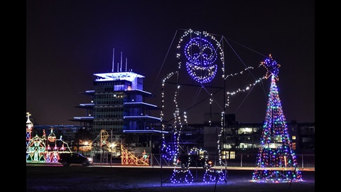 The Abominable Snowman oversees the Lights at the Brickyard course